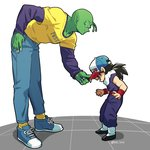 2boys baseball_cap black_hair denim dougi dragon_ball dragon_ball_z fingernails green_skin hand_in_pocket hand_on_hip hat height_difference jeans leaning_forward long_fingernails long_sleeves looking_at_another male_focus multiple_boys norun open_mouth pants piccolo pointy_ears purple_shirt shadow shirt simple_background sleeveless smile socks son_gohan standing twitter_username white_background wristband yellow_shirt