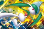 closed_mouth creature frown full_body gallade gen_4_pokemon jumping leaf looking_at_viewer no_humans official_art pokemon pokemon_(creature) pokemon_trading_card_game red_eyes solo third-party_source tsutsui_misa wind