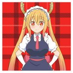 1girl artsy-rc blush closed_mouth collared_shirt dated dragon_horns dress eyebrows_visible_through_hair gloves gradient_hair grey_dress hands_on_hips horns kobayashi-san_chi_no_maidragon long_hair looking_at_viewer maid maid_headdress multicolored_hair necktie plaid plaid_background puffy_short_sleeves puffy_sleeves red_background red_eyes red_neckwear sash shirt short_sleeves signature slit_pupils smile solo tooru_(maidragon) twintails white_gloves wing_collar