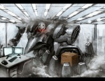 amazon_(company) armored_core box cardboard_box computer foreshortening letterboxed mecha no_humans office original ra_(pixiv120326)