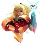 1girl armor blonde_hair brushing crossover gen_1_pokemon glasses gun lights metroid number pikachu pokemon pokemon_(creature) pokemon_on_shoulder ross_tran samus_aran sketch upper_body watermark weapon