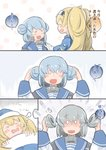 2girls blanket blonde_hair blue_sailor_collar check_translation closed_eyes comic demon_core double_bun dreaming enjaku_izuku fang fangs gambier_bay_(kantai_collection) grey_hair hairband highres kantai_collection long_hair multiple_girls sailor_collar samuel_b._roberts_(kantai_collection) sleeping smile sweatdrop translation_request twintails