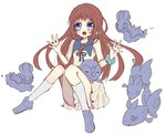 1girl akako bird blue_eyes brown_hair crossover dress finneon fish gen_4_pokemon long_hair mukaido_manaka nagi_no_asukara on_lap penguin piplup pokemon pokemon_(creature) pokemon_(game) pokemon_dppt pokemon_on_lap sailor_dress school_uniform sea_slug serafuku shellos shellos_(west)