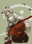 1girl animal_ears battoujutsu_stance brown_eyes closed_mouth fighting_stance grey_hair holding holding_sword holding_weapon inishie_kumo inubashiri_momiji katana leaf long_sleeves looking_at_viewer red_footwear red_skirt scabbard sheath shoes short_hair sketch skirt solo sword tail touhou weapon wide_sleeves wolf_ears wolf_tail
