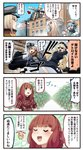 4koma 5girls :d =3 animal aqua_neckwear belt belt_buckle bismarck_(kantai_collection) black_belt blonde_hair blue_eyes blue_hair blue_sailor_collar blue_scarf blush braid breast_pocket buckle building buttons closed_eyes comic commentary de_ruyter_(kantai_collection) directional_arrow dixie_cup_hat dog eyebrows_visible_through_hair flannel flower food fringe_trim german_flag green_eyes hair_between_eyes hair_bun hair_flower hair_ornament hat highres holding holding_food ido_(teketeke) iowa_(kantai_collection) kantai_collection long_hair long_sleeves military military_hat military_uniform mini_hat multicolored multicolored_clothes multicolored_scarf multiple_girls neckerchief open_mouth peaked_cap pince-nez pink_flower plaid plaid_shirt pocket police police_uniform popsicle red_hair revision ro-500_(kantai_collection) sailor_collar samuel_b._roberts_(kantai_collection) santa_hat scarf school_uniform serafuku shirt short_hair side_braid smile snowman speech_bubble speed_lines sunglasses the_roma-like_snowman translated uniform white_headwear zara_(kantai_collection)