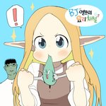 ! 1boy 1girl bj_elf's_cooking_channel blonde_hair blue_background blue_eyes blush copyright_name elf fangs green_skin highres long_hair looking_at_viewer luke_(dydansgur) orc pointy_ears simple_background sparkle