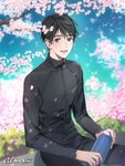 1boy :d artist_name bishounen black_eyes black_hair black_jacket black_pants blue_sky blurry blurry_background blush branch cherry_blossoms cloud cloudy_sky commentary day depth_of_field eyebrows_visible_through_hair fingernails flower gearous grass happy highres holding holding_thermos jacket katsuki_yuuri lips looking_at_viewer male_focus open_mouth outdoors pants petals pink_flower sitting sky smile spring_(season) symbol_commentary teeth thermos track_jacket track_pants tree_branch upper_body upper_teeth wind wind_lift yuri!!!_on_ice
