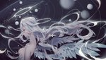 1girl angel_wings arms_at_sides backlighting bad_id bad_pixiv_id blurry breasts chinese_commentary close-up closed_eyes closed_mouth commentary_request curly_hair depth_of_field expressionless eyebrows_visible_through_hair eyelashes feathered_wings grey_theme highres long_hair mato-c night night_sky nipples nude original planet puffy_nipples ribs saturn shiny shiny_hair shiny_skin skinny sky small_breasts solar_system solo star_(sky) starry_sky upper_body white_hair white_theme white_wings wings
