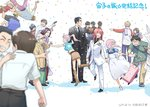 6+boys 6+girls belt black_hair blonde_hair blurry breasts brown_hair coat confetti copyright_request crop_top dated dress everyone formal freckles glasses group_picture long_hair midriff multiple_boys multiple_girls old_man otakubeam pants pink_hair red_hair scarf school_uniform short_hair simple_background skirt tuxedo
