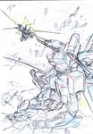 battle colored_pencil_(medium) commentary_request debris earth fighting gun highres holding holding_sword holding_weapon kumichou_(ef65-1118-ef81-95) mecha monochrome original sketch space sword thrusters traditional_media weapon