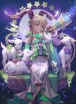 1girl absurdres animal bell blonde_hair blue_eyes bow braid detached_sleeves dress food fruit goat grapes hair_ornament highres holding holding_instrument horns huge_filesize instrument jewelry lamb lee_hyeseung necklace original sheep sitting solo sparkle star starry_sky_print tan white_dress