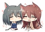 2girls :d =_= afterimage animal_ears bangs bare_shoulders barefoot black_legwear blue_shirt brown_hair brown_jacket brown_sweater cat_ears cat_girl cat_tail chibi closed_eyes closed_mouth dog_ears dog_girl dog_tail eyebrows_visible_through_hair hair_between_eyes heart jacket kinona long_hair long_sleeves multiple_girls no_shoes off-shoulder_shirt off_shoulder open_clothes open_jacket open_mouth original pants pantyhose ribbed_sweater shirt simple_background sitting skirt smile sweater tail tail_wagging turtleneck turtleneck_sweater very_long_hair white_background white_pants white_skirt yuri