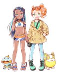2girls aqua_hair armband armlet bag barasui between_breasts blue_eyes blue_hair boots breasts chewtle commentary crop_top dark_skin denim eyewear_on_head gen_8_pokemon green_eyes green_footwear gym_leader handbag heart highres holding_hands jeans jewelry long_hair looking_at_viewer midriff multicolored_hair multiple_girls navel necklace open_mouth orange_hair pants pokemon pokemon_(creature) pokemon_(game) pokemon_swsh rurina_(pokemon) sandals scratching_cheek shorts side_ponytail sonia_(pokemon) sportswear strap_between_breasts trench_coat two-tone_hair white_background yamper younger