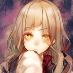 1girl asymmetrical_bangs bangs blonde_hair blunt_bangs closed_mouth eyebrows_visible_through_hair eyes_visible_through_hair frown jacket little_red_riding_hood_(sinoalice) long_hair long_sleeves looking_at_viewer sidelocks sinoalice solo teroru twintails upper_body wavy_hair yellow_eyes