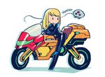 1girl adapted_object biker_clothes bikesuit blonde_hair blush_stickers ground_vehicle long_hair metroid metroid_(creature) motor_vehicle motorcycle on_motorcycle rariatto_(ganguri) samus_aran simple_background solid_oval_eyes white_background