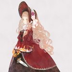 1girl bangs black_gloves blonde_hair blunt_bangs bonnet bow dagger dress fire flower gloves grey_background hat hat_flower holding holding_dagger holding_weapon juliet_sleeves little_red_riding_hood_(sinoalice) long_dress long_hair long_sleeves looking_to_the_side multicolored multicolored_eyes pink_flower puffy_sleeves red_bow red_dress red_headwear ribbon ringo_(pixiv27995436) rose simple_background sinoalice solo standing wavy_hair weapon white_flower white_ribbon white_rose wide_sleeves