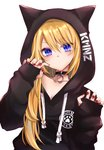 1girl animal_ears black_hoodie blue_eyes chim_(dedechimly) claw_pose hair_over_one_breast hood hood_up hoodie kmnz long_hair long_sleeves mc_lita paw_print sleeves_past_wrists v-shaped_eyebrows virtual_youtuber